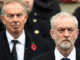 Former Prime Minister Tony Blair (left) and Labour Leader Jeremy Corbyn (right)
